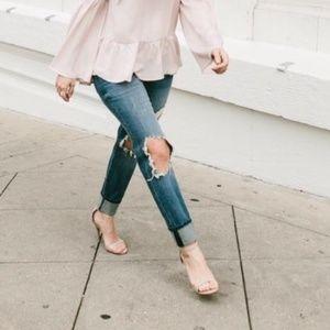 Sam Edelman Patti Patent Nude Heels Ankle Strap